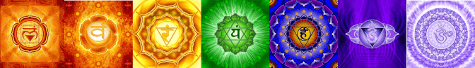 The 7 chakras symbols, side by side