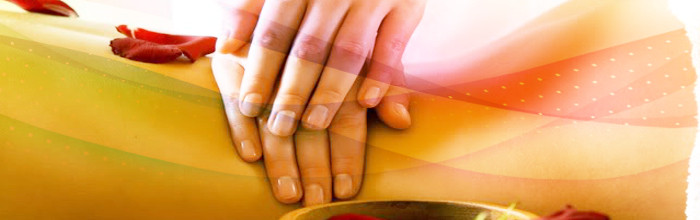 Demonstration of hands on reiki healing
