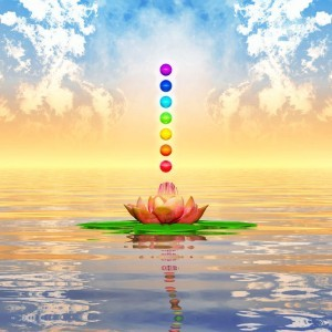 Chakras floating above a sacred water lily, representing Reiki level 1