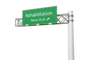 Freeway exit sign for drug addiction rehabilitation